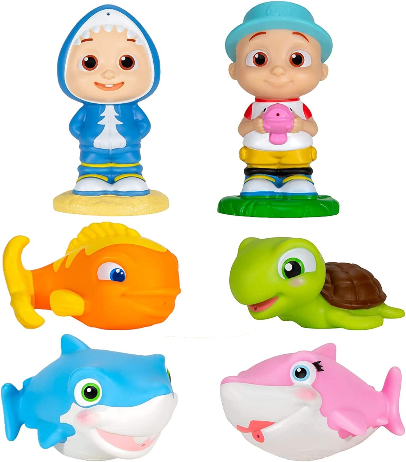 CoComelon Bath Squirter Toys 6 Pieces Ranking TOP3 Shark Baby Includes OFFer - JJ