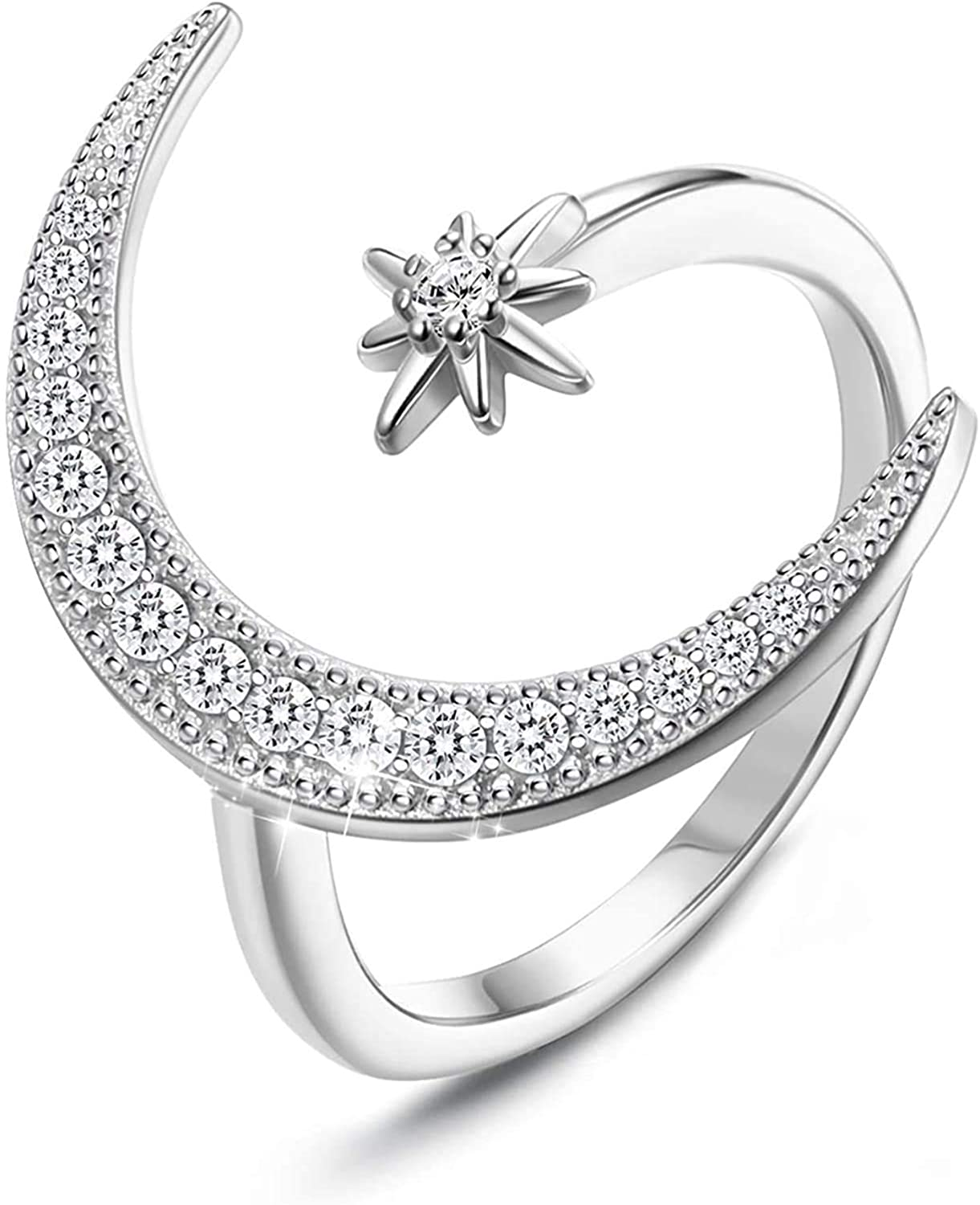 Milacolato Online limited product Sterling Brand Cheap Sale Venue Silver Moon Rings Plati women Adjustable for