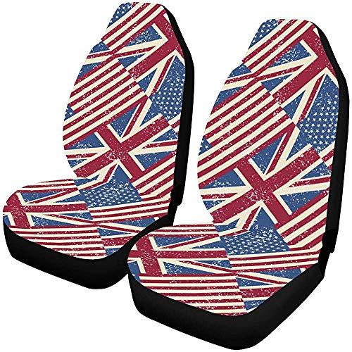 Night-Shop UK und US Flags Autositzbezüge Set mit 2 Protektoren