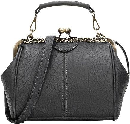 Abuyall Women Small Retro Kiss Lock Pu Leather Vintage Purse Handbag Totes  Bag 3207a91f454c9
