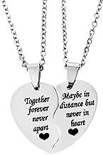 MJartoria BFF Necklace for 2-Split Valentine Heart Necklace TOGETHER FOREVER NEVER APART..