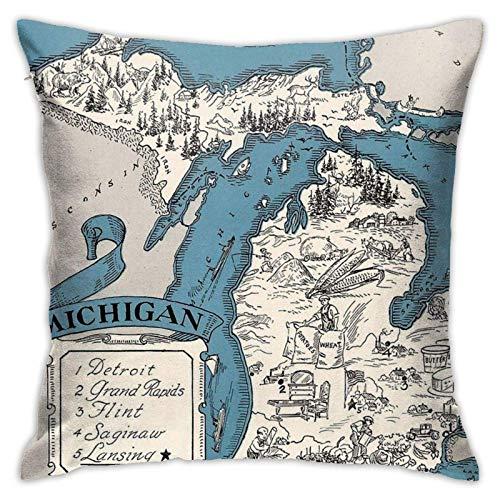 xiancheng Vintage 1926 Michigan State Map Idee Kissen Dekor Abdeckung Alles Gute zum Geburtstag Geschenk für Boy Girl Kissenbezug Versteckter Reißverschluss Zwei Seiten Gedruckt