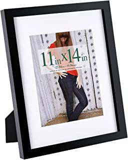 RPJC 11x14 inch Picture Frame Made of Solid Wood and High Definition Glass Display Pictures 8x10 with Mat or 11x14 Without Mat for Wall Mounting Photo Frame with Stand Black