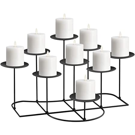 Only-us Metal Pillar Candle Holders Set of 5 Black Candlesticks for Fireplace//Living Room//Dinning Room Table Candelabra Decoration Modern Art Classic Design with Geometric Shape