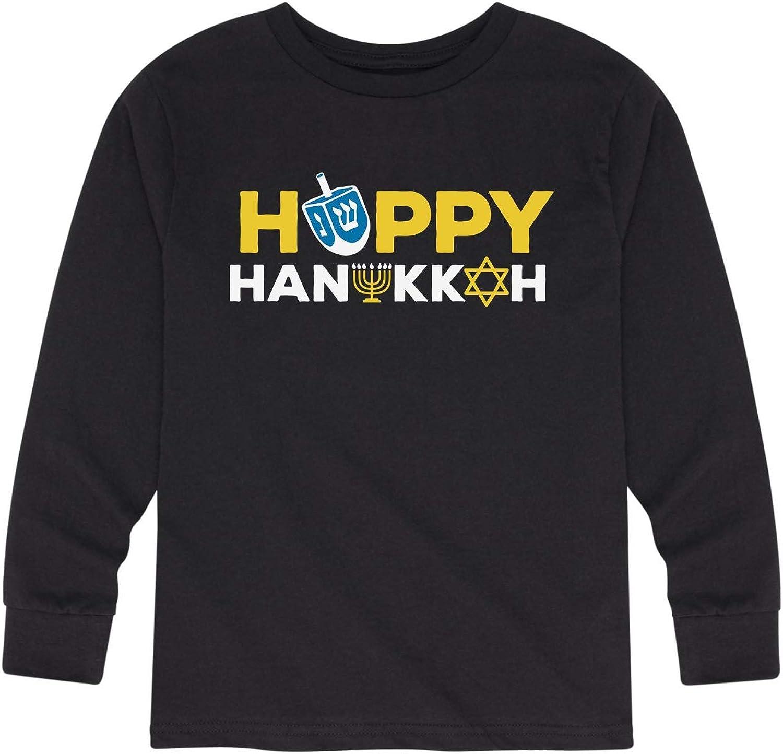 Happy Hanukkah Icon Font - Youth Long Sleeve Tee