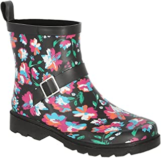 Capelli New York Ladies Shiny Bright Floral Printed Short Sporty Lined Rainboot Black Combo 8