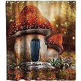 D-M-L Polyester-Duschvorhänge, Standard, Geburtstag Alice im W&erland mit Kuchen Schmetterling im magischen Wald, wasserdicht, Badewannen-Vorhänge, 122 x 183 cm