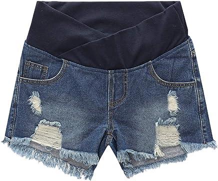 Maternit/é /À la Mode Usure L/âche avec /Élastique besbomig /Ét/é Ventre Grossesse Un Pantalon Taille Basse Denim Shorts