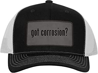 One Legging it Around got Corrosion? - Leather Grey Patch Engraved Trucker Hat