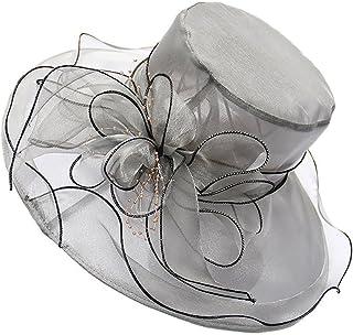Lvaiz Women's Organza Church Kentucky Derby Hats Fascinator Bridal Cap British Tea Party Wedding Hat Summer UV Protective