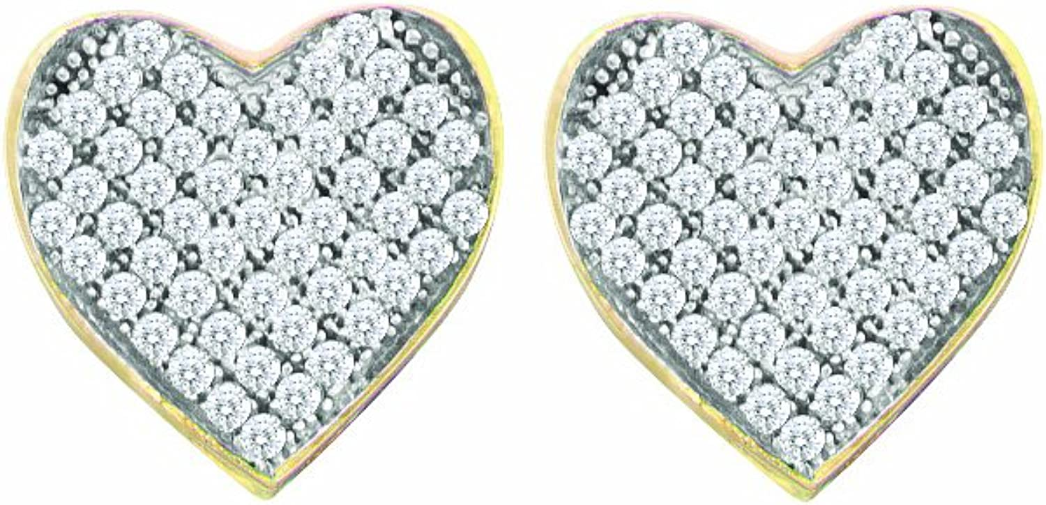 1 10 Total Carat Weight DIAMOND LADIES MICRO PAVE HEART EARRINGS