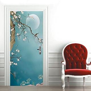 Stickers De Porte Autocollants De Porte 3D Auto-Adhésifs Imperméables De Style Chinois Prune Pvc Décor De Papier Peint Mural