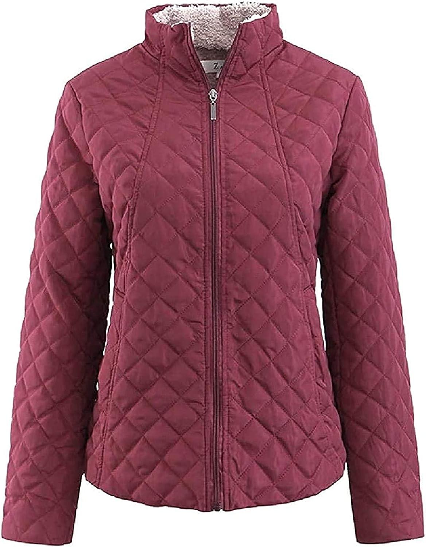 Fllaees Womens Lightweight Stand Collar Coat Slim Thicken Quilted Down Jackets