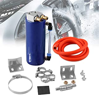 RYANSTAR Universal Aluminum Racing Engine Oil Catch Tank CAN Kit Turbo Reservoir Billet Round 450ML Blue