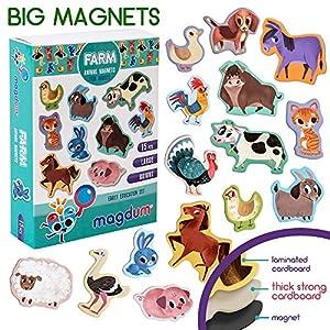 MAGDUM Imanes Animales Granja Infantil para niños - Imanes Nevera Grandes - Juguetes EDUCATIVOS lenguaje bebé 3 años - Imanes magnética para Aprender - Teatro de imán para niños