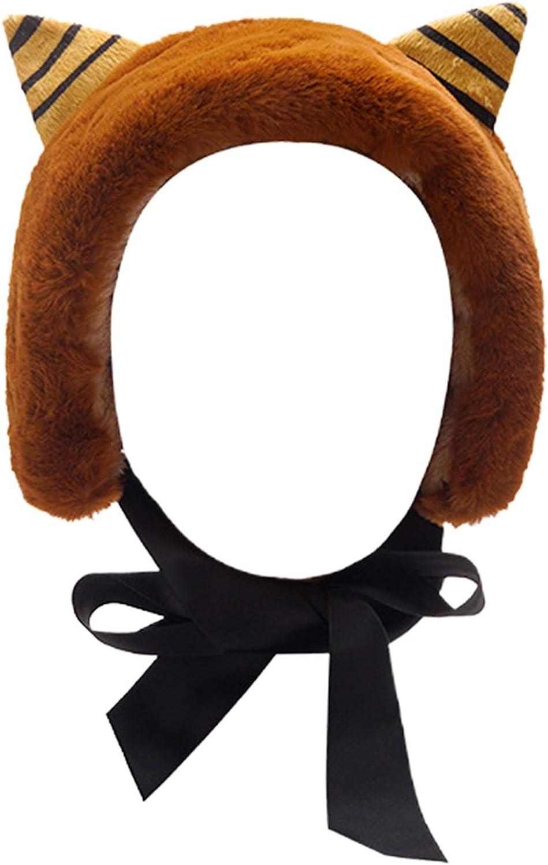 YOUSIKE Winter Earmuffs, Japanese Women Winter Thicken Fuzzy Plush Earmuffs Headband Cute Cat Ears Lace-Up Bowknot Earflap Hairband Outdoor Snow Ski Ear Warmer