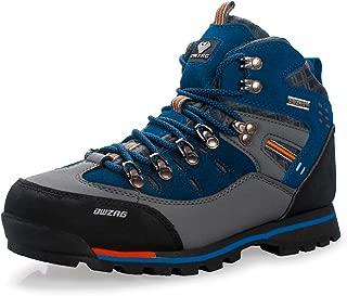 Men's Waterproof Leather mid Hiking Boots Outdoor Non-Slip Lightweight Trekking Sneakers