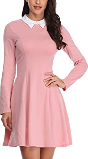 Womens Peter Pan Collar Long Sleeve Fit and Flare Skater Casual Halloween Dress
