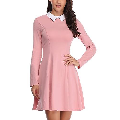c0302f0546715f FENSACE Womens Peter Pan Collar Long Sleeve Halloween Dress