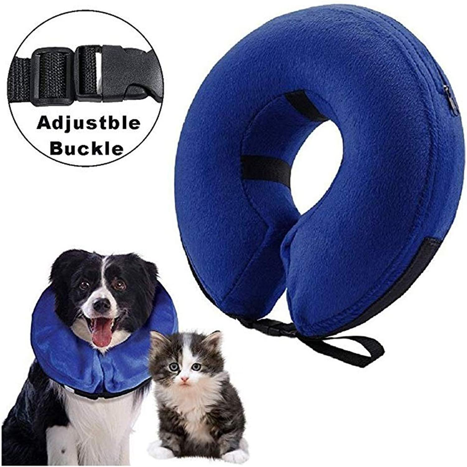 QIQIPET Predective Inflatable Collar for Dogs and Cats, Soft Pet Recovery ECollar with Adjustable Buckle, for Recovery from Surgery or Wounds (Size   L)