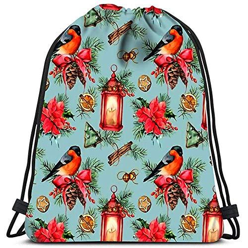 Dingjiakemao Sackpack Aquarel Kerstmis Met Vakantie Symbolen Bullfinch Lantaarn Kaars Waszak Gym Yoga Tas