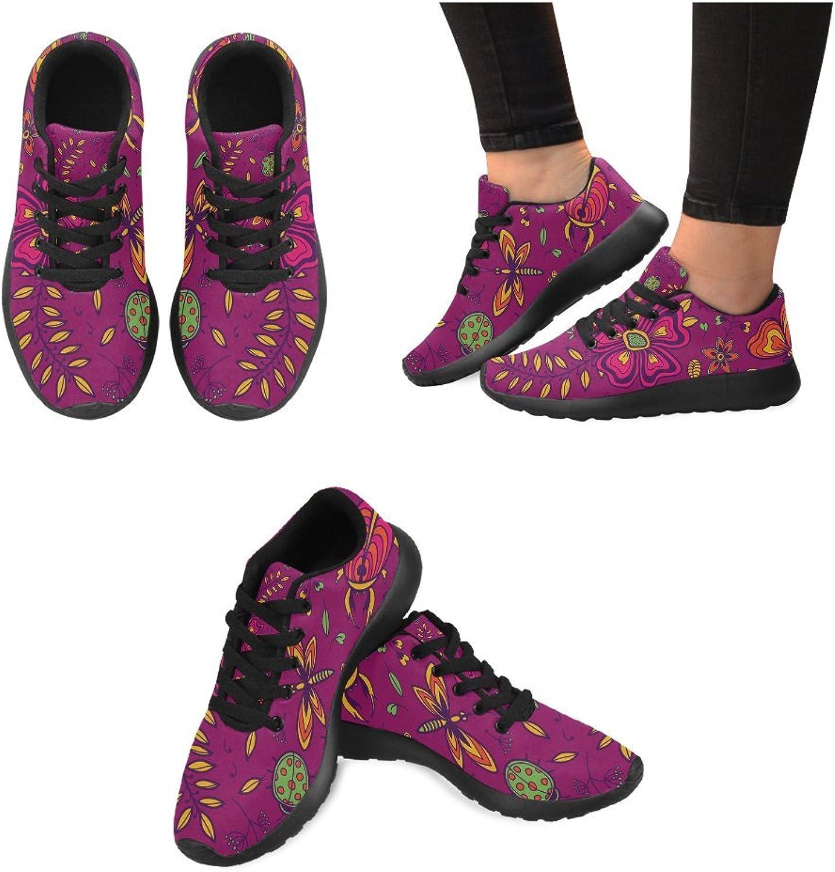 InterestPrint Purple Flowers Butterflies Print on Women's Running shoes Casual Lightweight Athletic Sneakers US Size 6-15