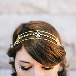 Yalice Elegant Pearl Head Chain Gold Headpieces Wedding Hair Acessories for Women and Girls