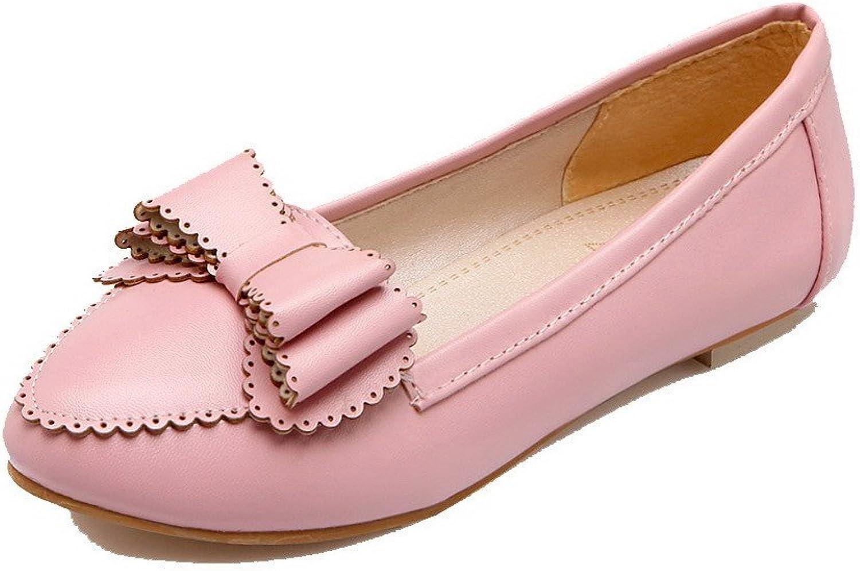 AmoonyFashion Women's Round-Toe Low Heel Microfiber Solid Pumps-shoes