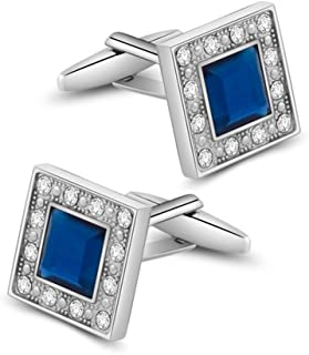 Blue Navy Swarovski Crystal Square Cufflinks for Men Classical Swarovski Cuff Links with Gift Box Elegant Style