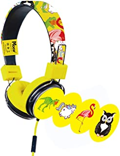 Moear Fathead Headphones Foldable Cartoon Headphones with Mircophone Wired Earphones for MP3 Player PC Christmas with 4 Different Stickers for Boys and Gifts (Yellow)