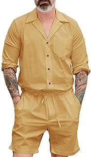 VICCKI Men's Summer New Style Fashion Pure-Colour Large Size Clothes Button Jumpsuit