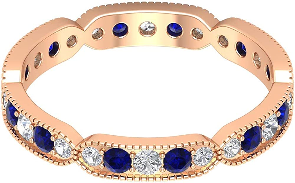 0.60 Ct Certified 2mm Blue Sapphire Lab Created Full Eternity Ring, 0.36 Ct Diamond Beaded Engraved Ring, Gemstone Alternating Ring, Unique Wedding Band Ring, 14K Gold