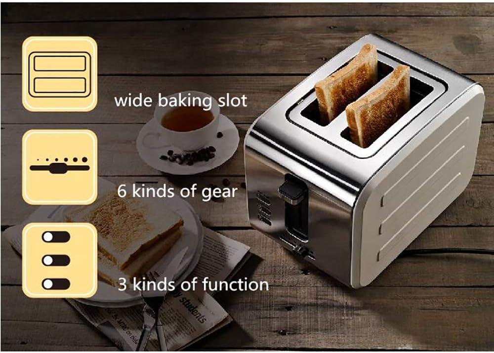 Mouwa 2 Slice RVS Toasters, Extra Brede Lange Slot Broodroosters met 6 Browning Setting Ontdooien/Opwarmen/Annuleren Functie voor Snel En Zelfs Roosteren E