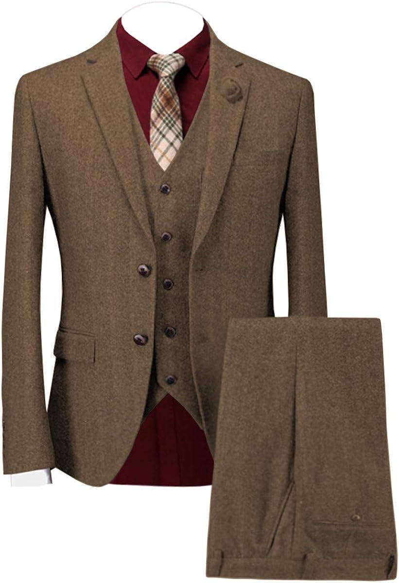 Aesido Men's Suits Formal 3 Piece Rugular Fit Wool Tweed Classic Evening Tuxedos Wedding Grooms (Blazer+Vest+Pants)