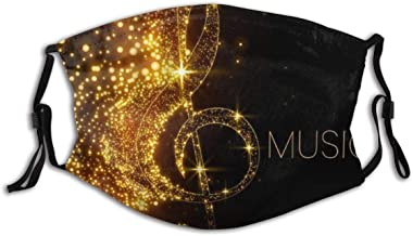 BYJHMB Music Creative Gold Musical Note with Fallen Shiny Star Creative Art Painting Dust Face Cover Washable Reusable,Dustproof,Cycling