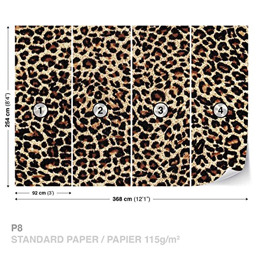 FORWALL DekoShop Fototapete Tapete Leopard Muster AD190P8 (368cm x 254cm) Photo Wallpaper Mural
