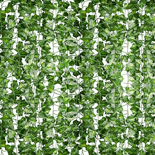 AClocod 24 Strands Artificial Ivy Leaf 165 Ft Fake Vines Plants Hanging Garland Foliage Flowers for Home Room Kitchen Garden Wall Wedding Indoor Outdoor Decor,Green