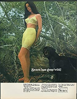 Sears has gone wild! Under-Trappings Lace Tulip bra & panty girdle ad 1969