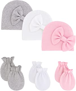 Newborn Infant Baby Girl Beanie Hat Mittens Set Cotton Bow Skull Caps Gift Gloves for Babies Girls 0-12 Months
