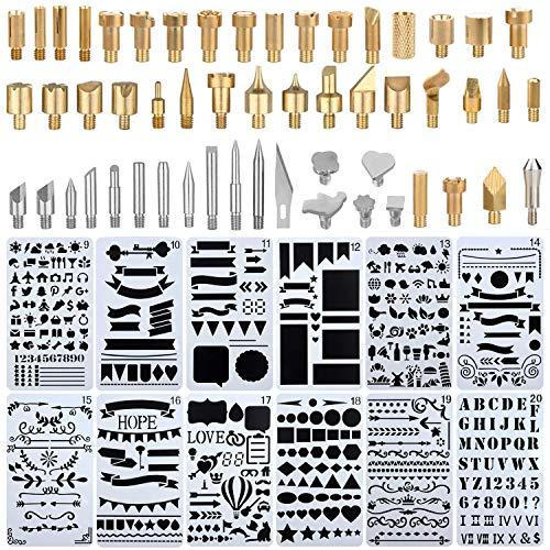 UHBGT Wood Burning Accessories,65 Pcs Tip,Stencil Soldering Iron Pyrography Working Carving Engraving Craft Tools for Woodworking, Leather, Unknown 3 Piece