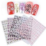 (540 Pièces )5 Fuilles 3D Sticker Nail Art Fleur en 9 Motifs et 5 Couleurs Designes Autocollants Ongle Nail Art Stickers