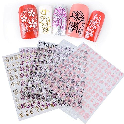 540 Stück Nail Sticker Nagelaufkleber Nagelsticker Nagel Vinyl Aufkleber Nagelkunst Sticker Nagel Sticker Aufkleber Nail Art Maniküre DIY Nagel 5 Blätter in 5 Farben
