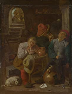 The High Quality Polyster Canvas Of Oil Painting 'Style Of Adriaen Brouwer Four Peasants In A Cellar ' ,size: 8 X 11 Inch / 20 X 27 Cm ,this Best Price Art Decorative Canvas Prints Is Fit For Powder Room Gallery Art And Home Gallery Art And Gifts