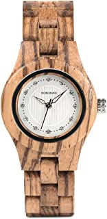 Women Wood Watches Casual Fashion Analog Quartz Wooden Watch for Ladies Diamond Decoration with Handcrafted Natural Wood Wristband - Brown