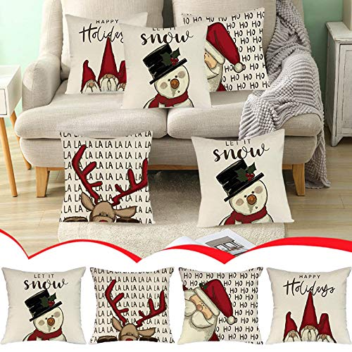 Christmas Farmhouse Pillow Covers,Winter Christmas Home Decorative,Outdoor Christmas Pillowcase for Couch Sofa Bed,4 Packs Christmas Square Cushion Covers Hidden Zipper Christmas Pillow Case