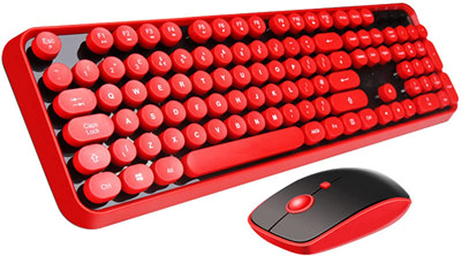 Wireless Keyboard and Mouse Combo Full-Size Dot Keycap Keyboard and Mouse Set Office Home Computer Accessories red