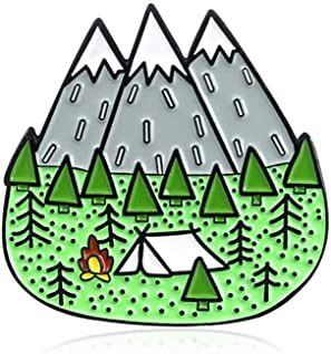 Oce180anYLV Creativo Spilla Pin Cartoon Camp Montagna Smalto Collare Bavero Spilla Pin Vestiti Sciarpa Gioielli