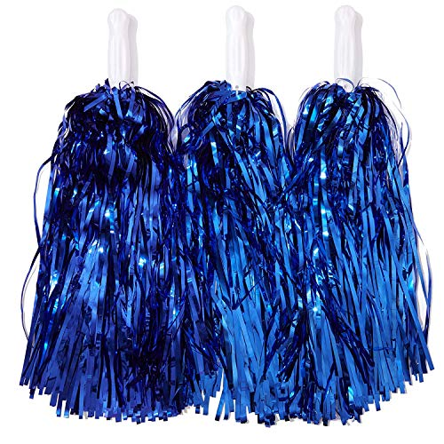 Cheerleading Pom Poms, blaue Folienfransen, 6 Paar