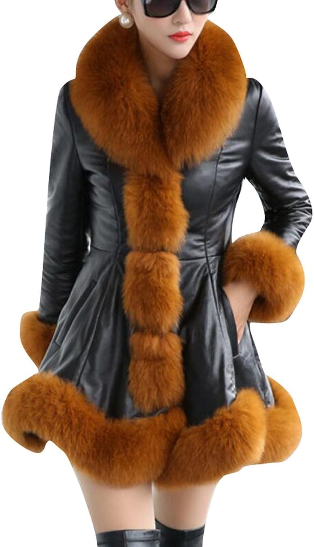 Nanquanwomen clothes NQ Womens Elegant Solid Warm Winter Coats Faux Fur Parka Jacket
