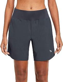 BALEAF Women's 7 Inches Long Running Shorts with Liner Lounge Sport Gym Shorts Back Zipper Pocket